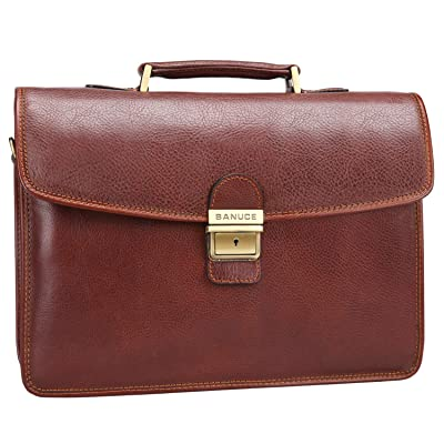 Banuce Full Grains Italian Leather Briefcase