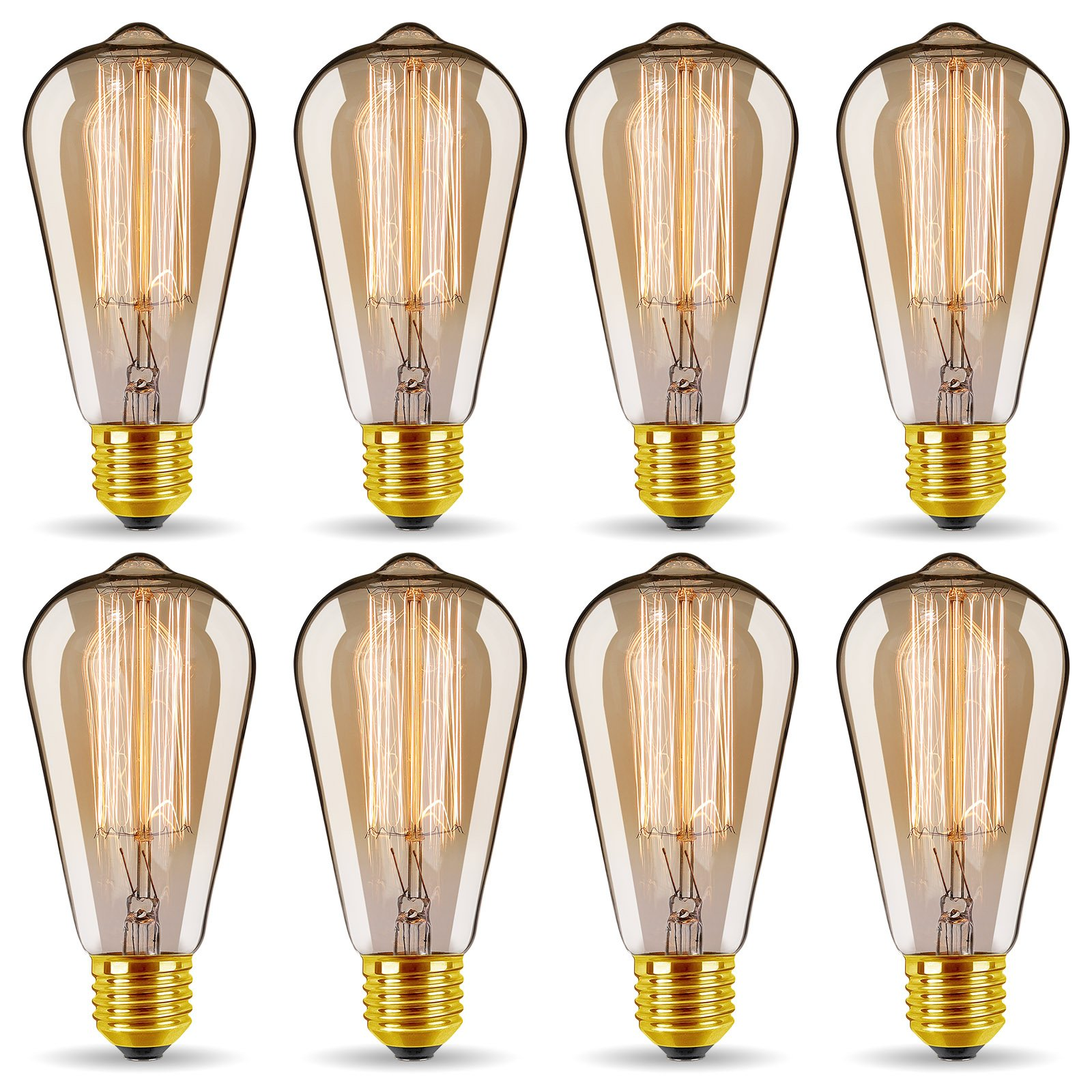 ST64 Vintage Edison Light Bulbs Dimmable 60W/110V E26/E27 Base Replacement Bulbs for Wall Sconces Lights, Pendant Light, Amber Warm & Squirrel Cage Filament Antique Light Bulb for Home Decor (8 Pack)