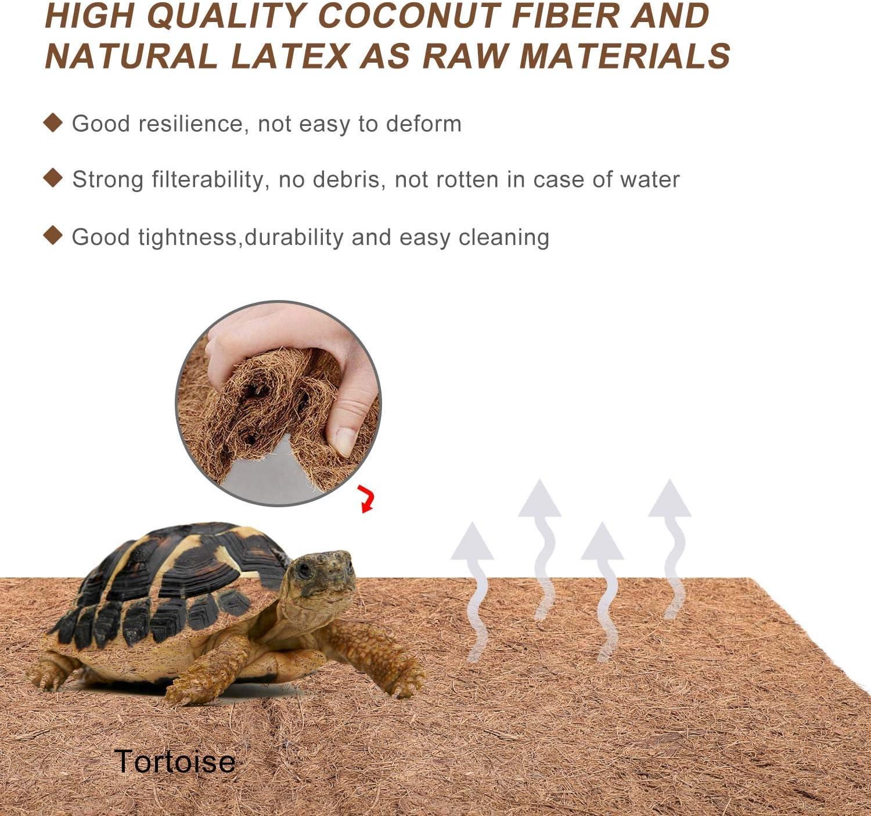 Reptile Terrarium Bedding Substrate Liner Natural Coconut Fiber Carpet Mat for Tortoise,Lizard,Snake,Chameleon 4 Pack 12/×20 Inch
