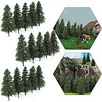 S0805 50PCS Dark Green Pine Model Cedar Trees 2.05inch (52mm) for Model Railroad Scenery Landscape Layout HO N Scale New…