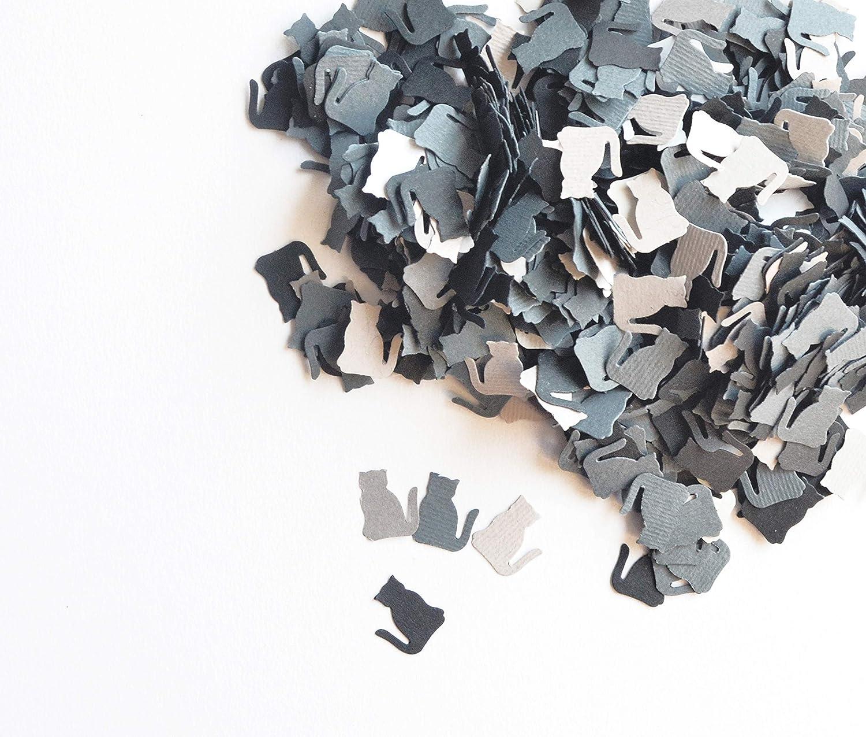 18 g- color gris claro-gris oscuro-negro papel en forma de gato totalmente artesanal Confeti