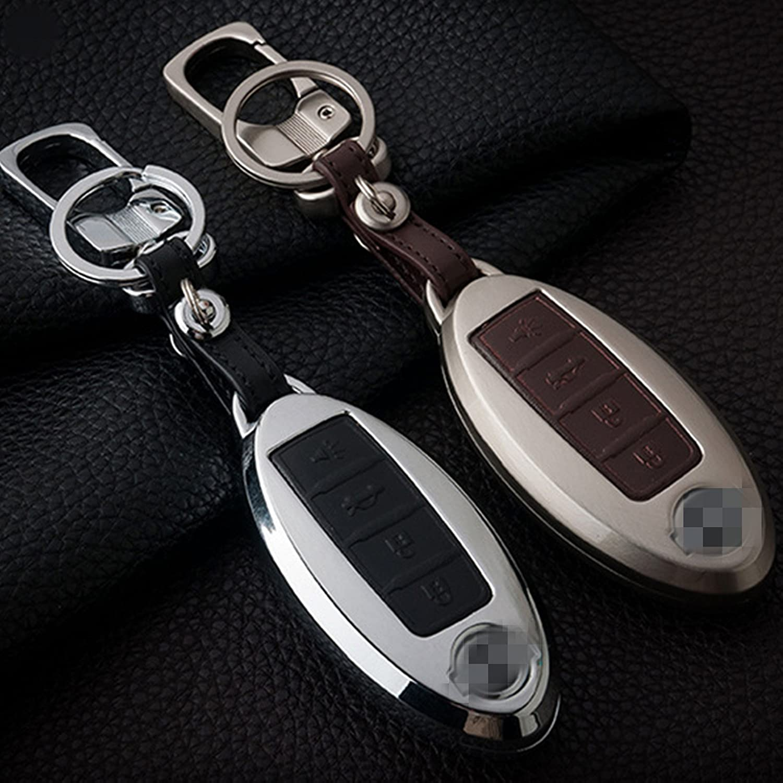 25ff030b4 wfmj negro aleación de zinc 4 botones piel titular de la cubierta para llave  a distancia Fob para Nissan GT-R Armada 370z Altima Cube Juke Maxima,  Murano, ...