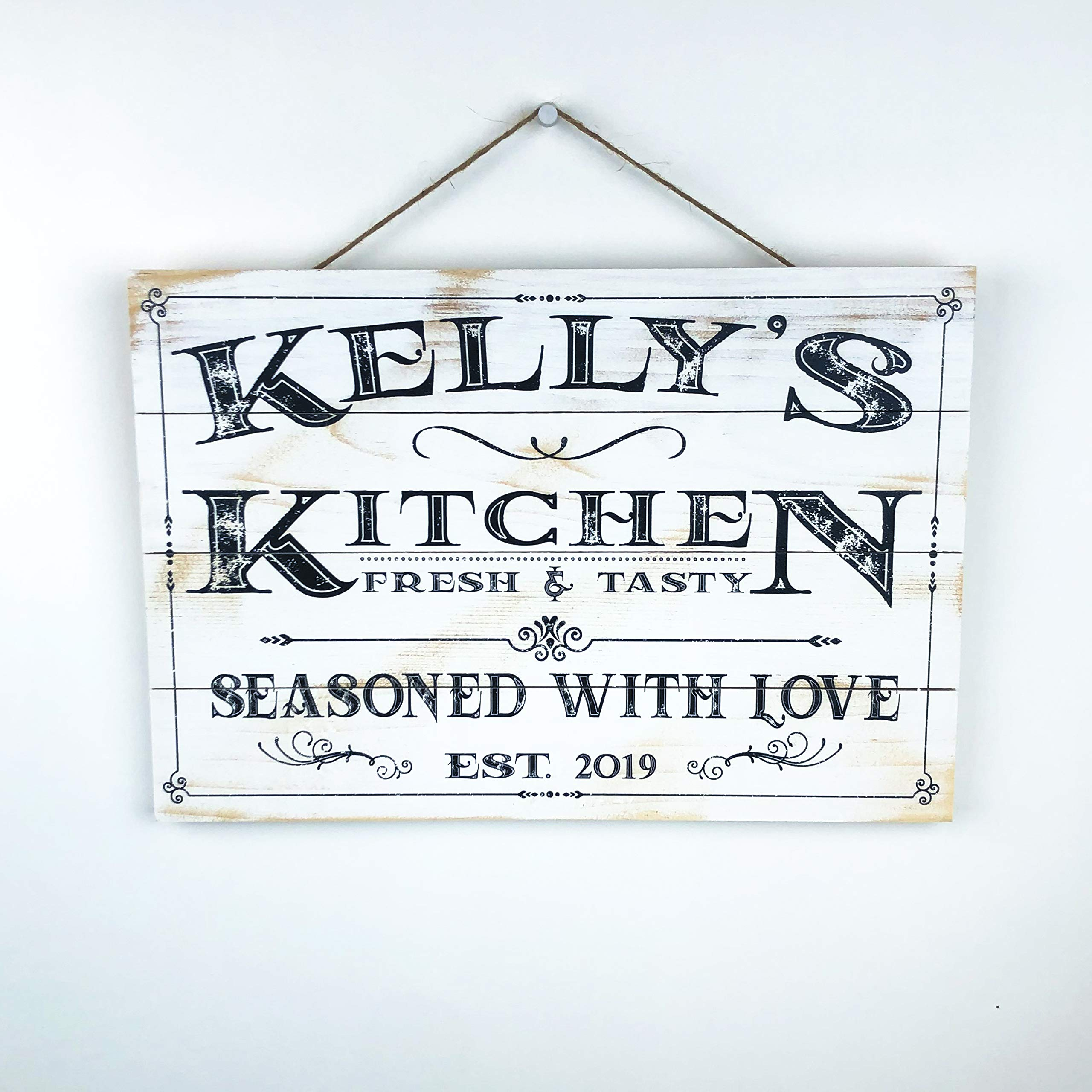 Artblox Personalized Wooden Kitchen Wall Decor | Farmhouse Kitchen Decor | Last Name Signs for Home | Family Sign | Housewarming Gifts | Wedding Gift - (16x12) - White by Artblox