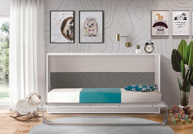 Cama Abatible Horizontal Plegable de Pared de 90x190 Color Blanco