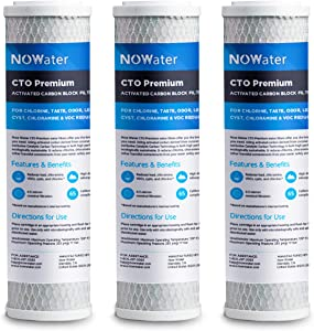 Now Water CTO Premium Carbon Block Filter - 3 Pk 0.5 Micron Universal 10 inch Housing Activated Charcoal Replacement Water Filter Cartridge - RO Under Sink & Whole House Systems - Reduces VOCs & Cysts