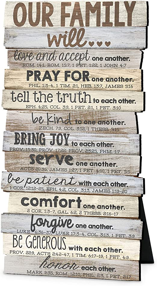 Our Family Will Love One Another Rustic Stacked Pallet 5 X 10 Wood Plaque Amazon Ca Home Kitchen