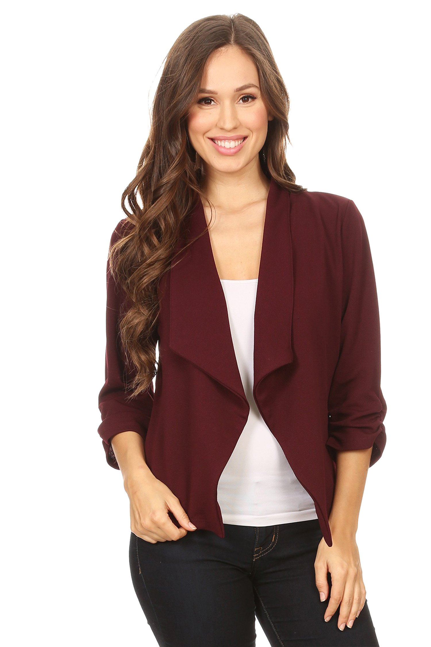 HEO CLOTHING Women's Plus/Reg Solid, Printed Open Blazer Cardigan Jacket Made in USA