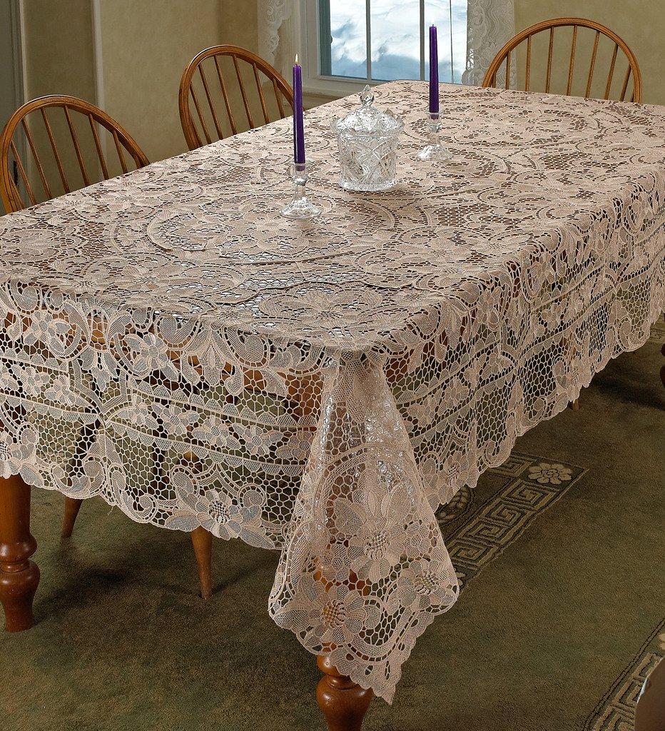 Violet Linen Crystal Embroidered Vintage Lace Design 70 X 160 Cream 70 X 160 CRYSTAL IV-9