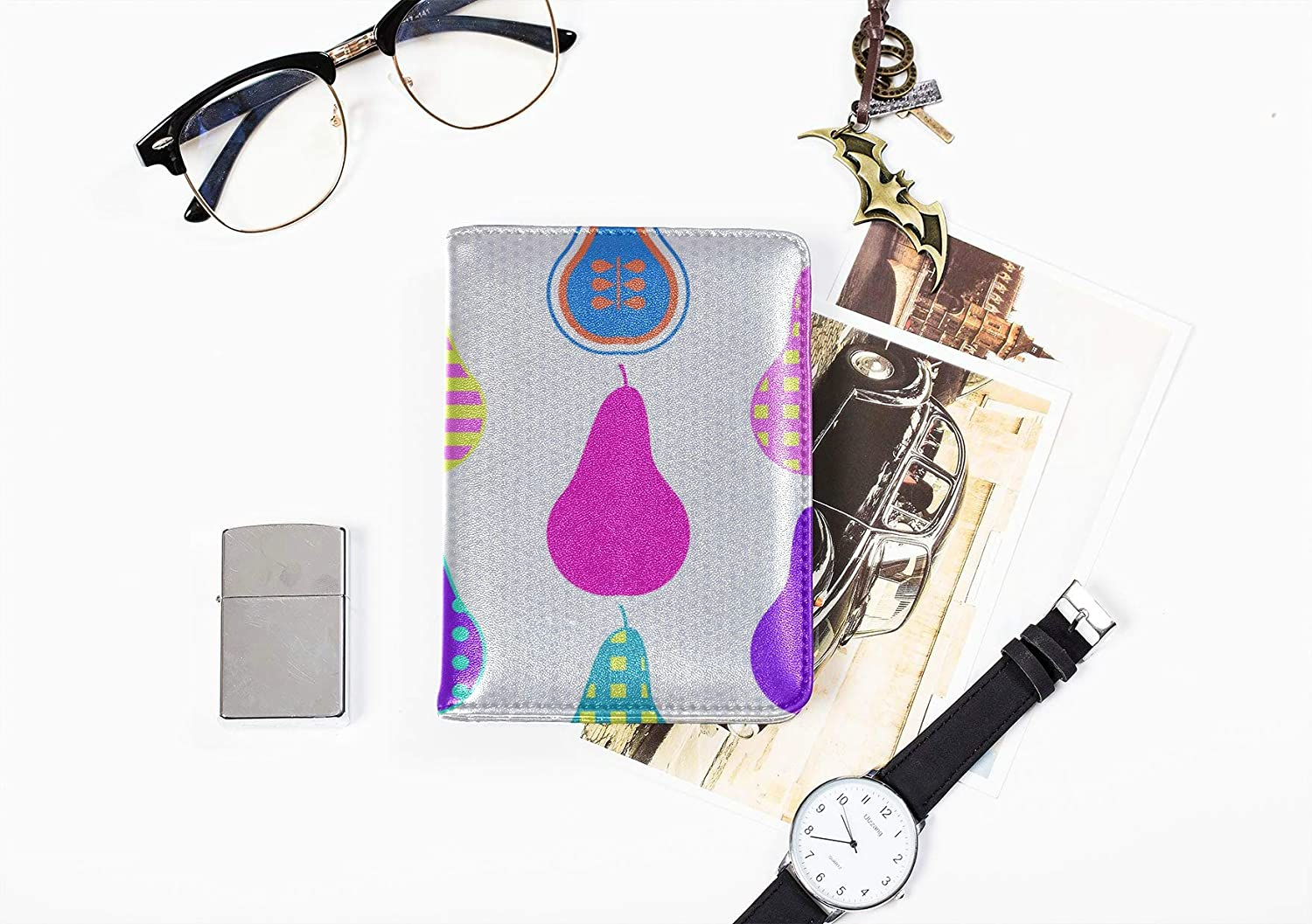 Boy Passport Cover Fashion Creative Style Fruit Pear Passport Carrying Case Multi Purpose Print Passport Cover Protector Travel Wallets For Unisex 5.51x4.37 Inch
