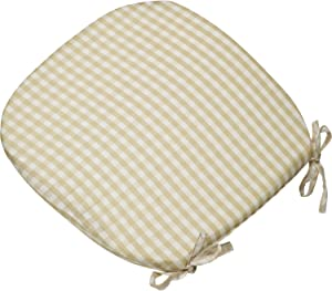 "Classic Home Store Gingham Check Single Round Seat Pad Outdoor Garden Dining Chair Cushion 16"" x 16"" (Beige)"