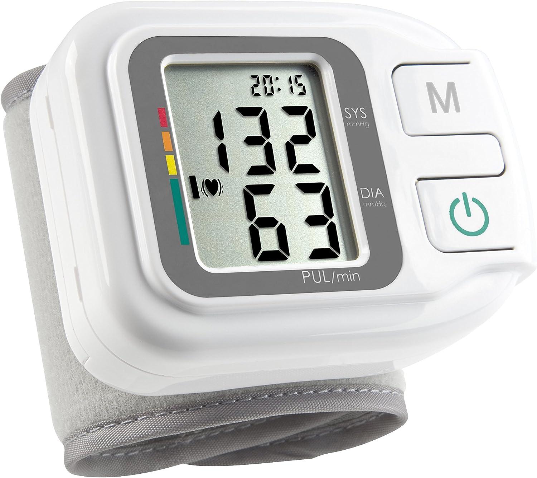Medisana HGH Tensiómetro de muñeca, pantalla de arritmia, escala de colores de los semáforos de la OMS, para la medición precisa de la presión arterial y la medición del pulso con función de memoria