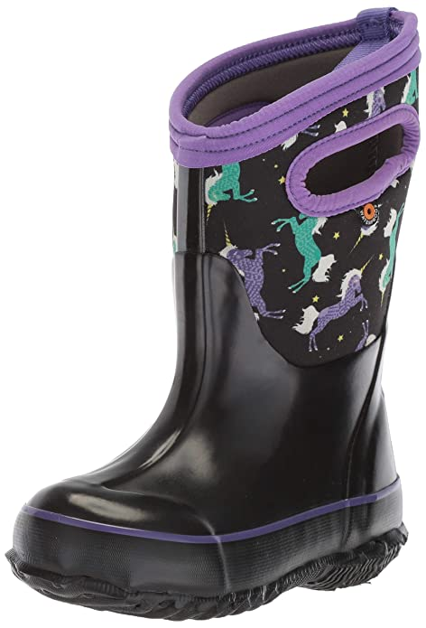 BOGS Kids' Classic High Waterproof Insulated Rubber Neoprene Rain Boot Snow, Unicorn Black Multi, 10 M US Toddler best kids' snowboots