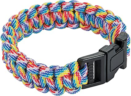 Rainbow Made in the USA Paracord Emergency Rope Survival Bracelet