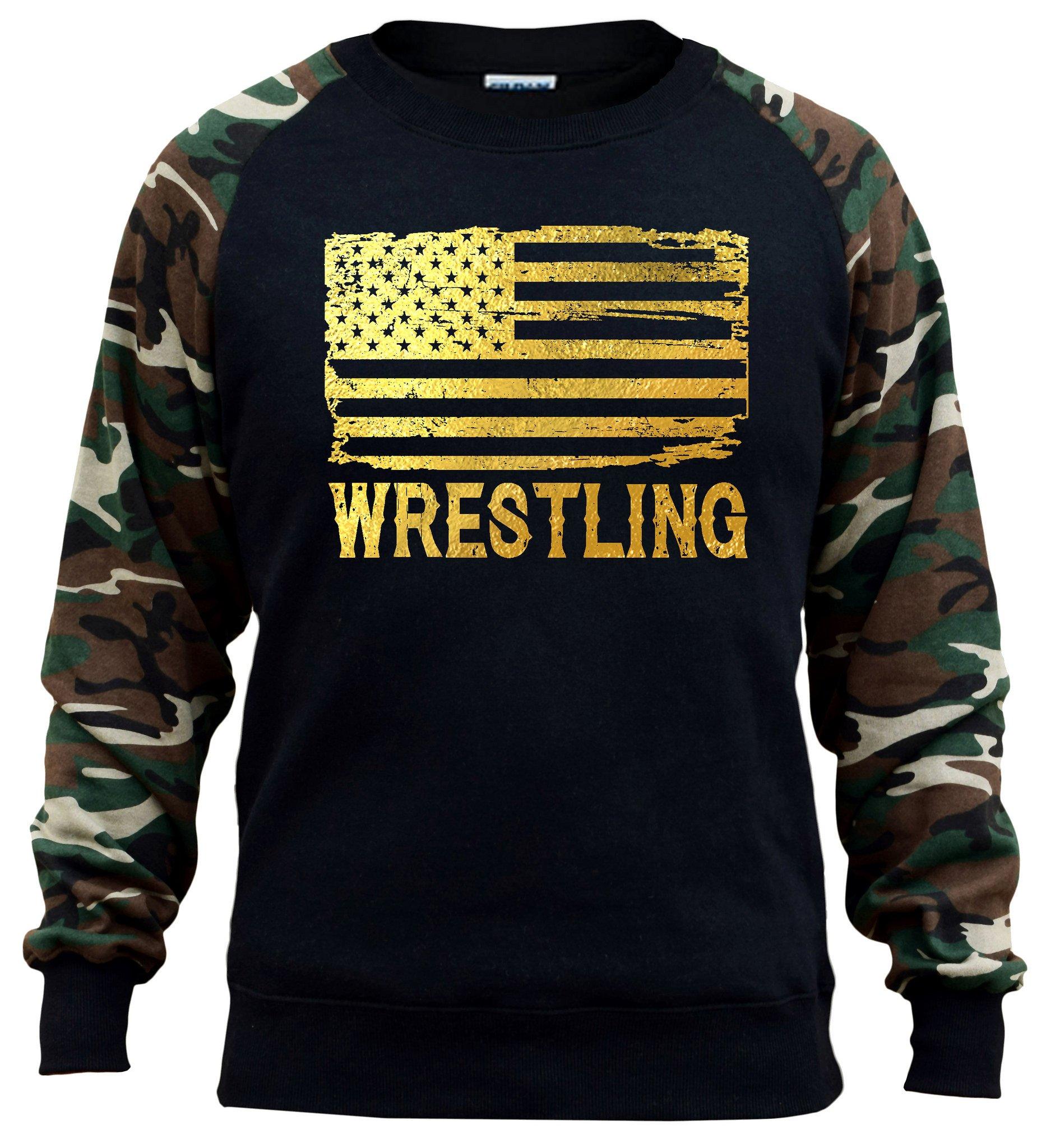 Interstate Apparel Men's Gold Foil Wrestling American Flag Black/Camo Raglan Baseball Sweatshirt 3X-Large Black