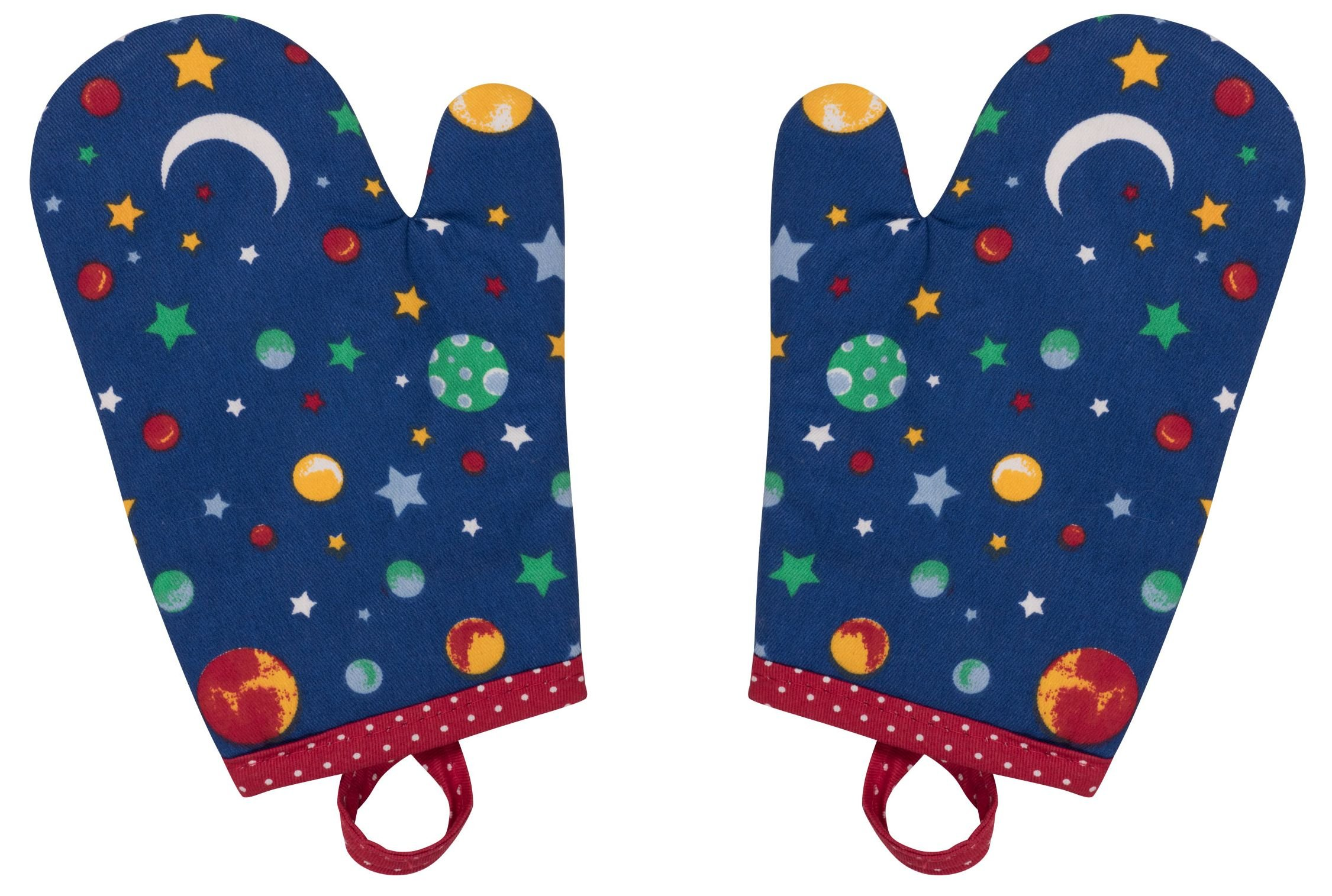 Handstand Kitchen Child's 100% Cotton Shell 'Stars and Planets' Pair of Oven Mitts