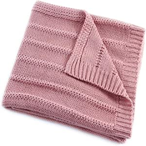 EverGrace Cozy Solid Knit Throw Blanket for Couch Chairs Bed Beach, Super Soft Cable Throw Blanket 50x 60 Pink
