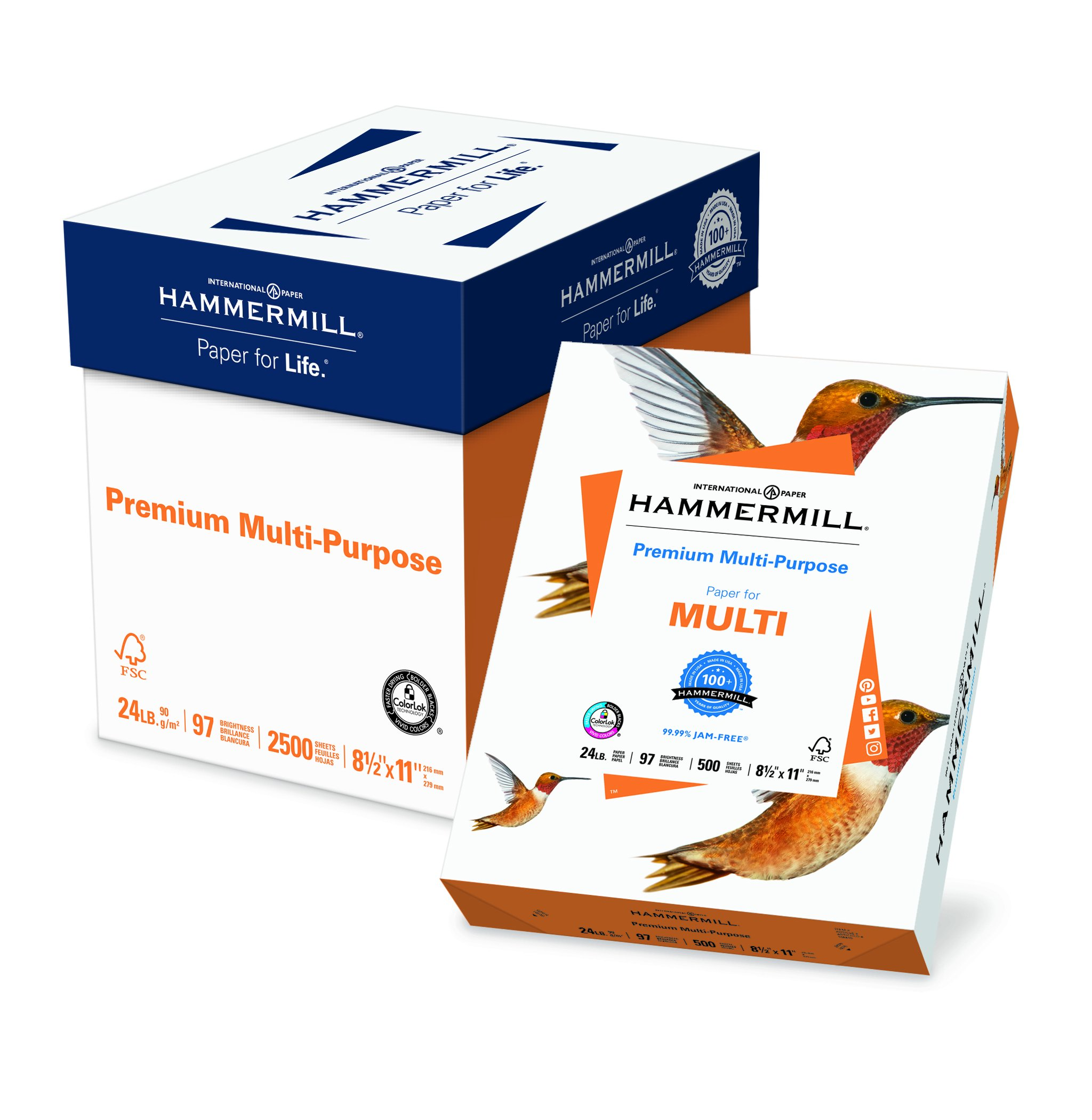 Hammermill Paper, Premium Multipurpose Paper, 8.5 x 11 Paper, Letter Size, 24lb Paper, 97 Bright, 5 Ream / 2,500 Sheets (105810C) Acid Free Paper by Hammermill