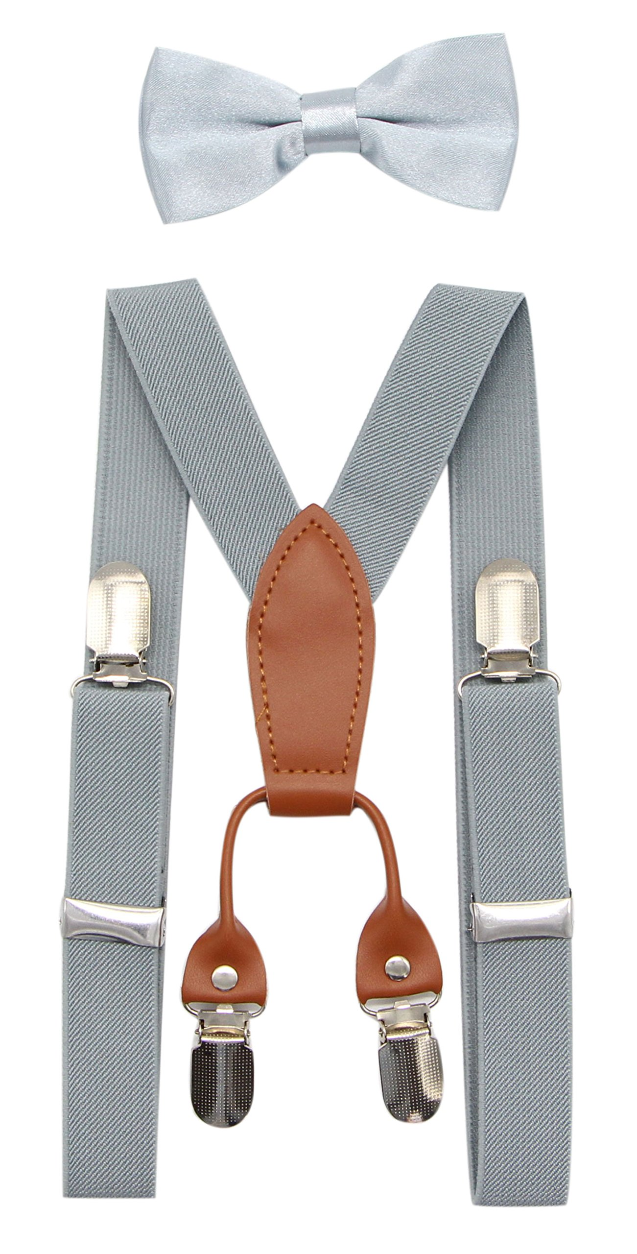 JAIFEI Toddler Kids 4 Clips Adjustable Suspenders and Matching Bow Tie Set (Light Gray)
