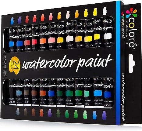 Juego de Acuarelas Colore – Kit Premium para Artistas, Estudiantes y Principiantes – Perfecto para Pinturas de Paisajes y Retratos en Canvas – 24 Colores de Acuarelas Espléndidamente Pigmentadas: Amazon.es: Electrónica
