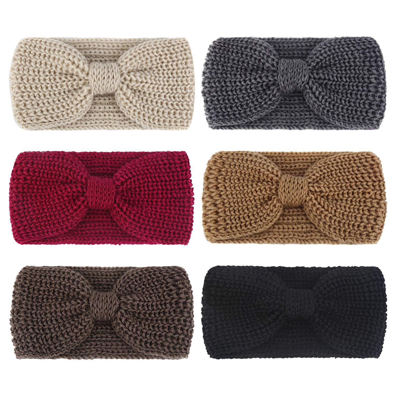 DRESHOW 6 Pack Crochet Turban Headband for Women Warm Bulky Crocheted Headwrap