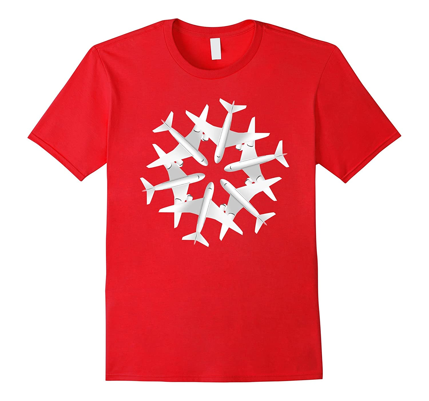 Airplane Snowflake Christmas T-shirt Airlines Xmas Noel-TD