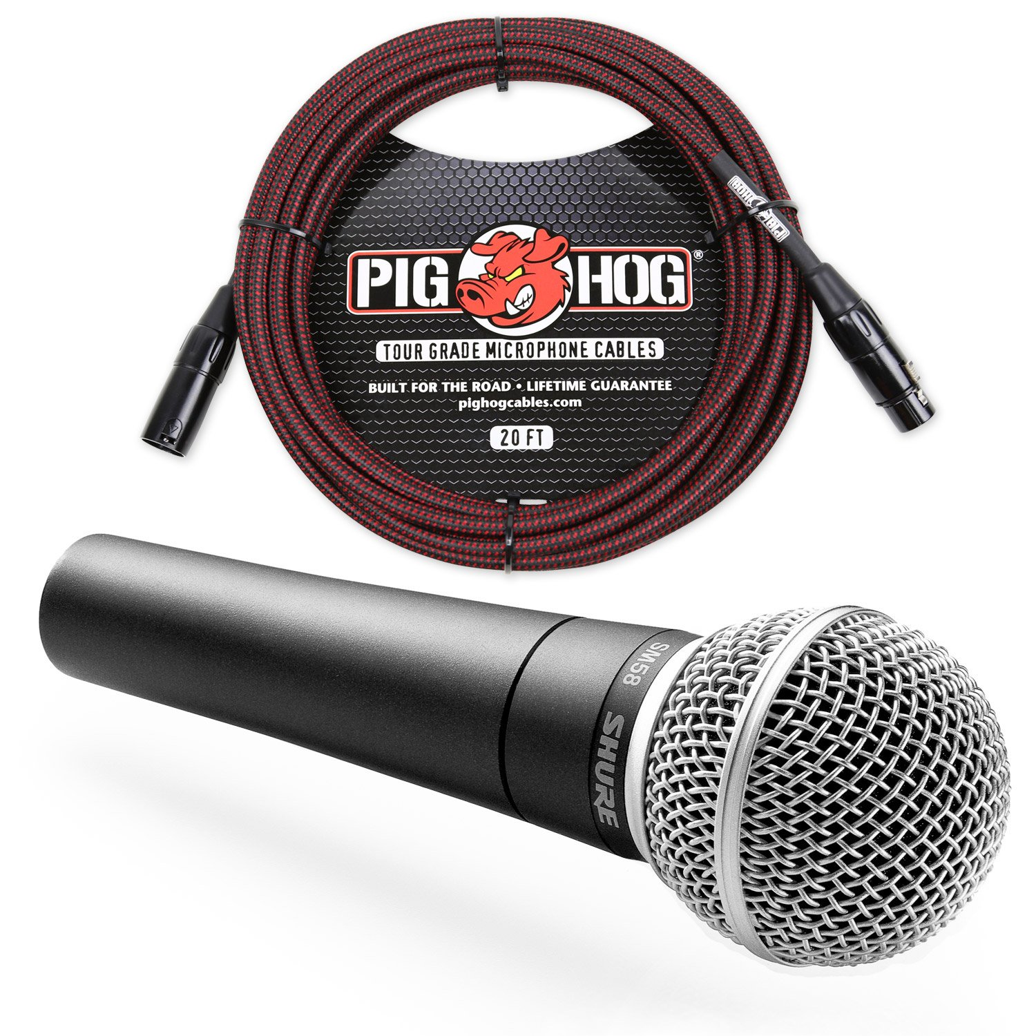 Shure SM58 Cardioid Vocal Microphone & Pig Hog Mic Cable, 20ft XLR - Bundle (Red) Shure1