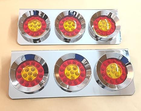 2 set di 3 luci led rotonde da 24 v in acciaio inossidabile cromato
