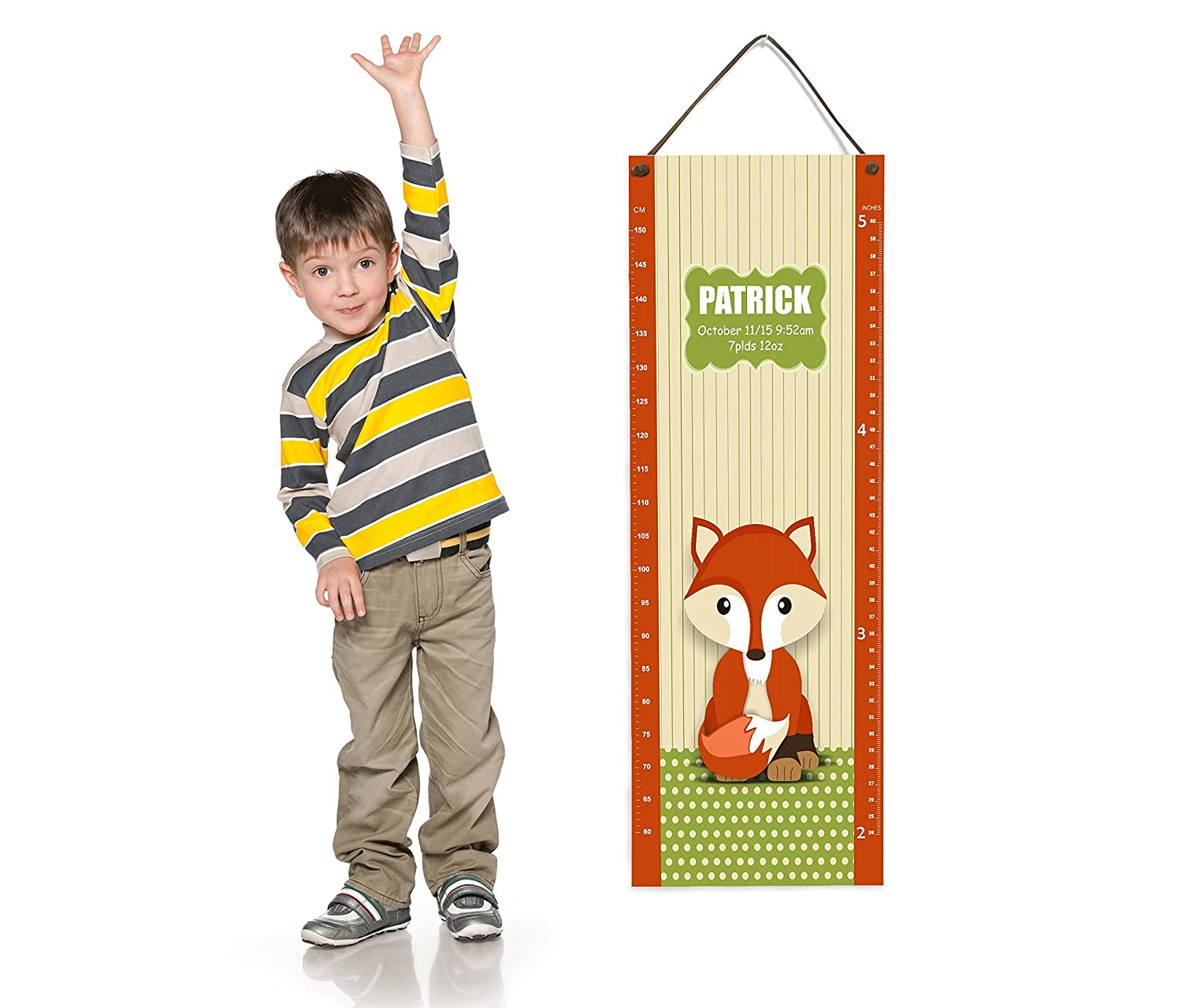 Personalized Kids Room Growth Chart Green and Orange Fox Theme