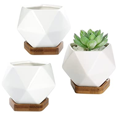 MyGift White Ceramic 3-Inch Geometric Mini Succulent Planters with Removable Bamboo Trays, Set of 3