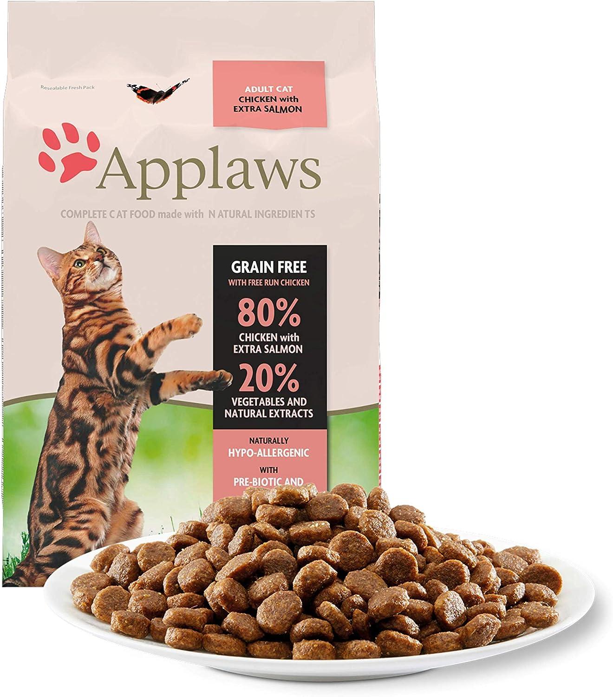 Applaws Comida seca para gatos, pollo y salmón extra/adulto, 7.5 kg