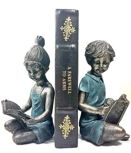 Bellaa 22951 Boy Girl Bookends Pair Light Weight Decorative Book Ends.