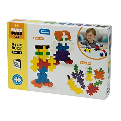 PLUS PLUS BIG - Open Play Set - 90 Piece - Basic Color Mix, Construction Building Stem Toy, Interlocking Large Puzzle Blocks for Toddlers and Preschool: Toys & Games