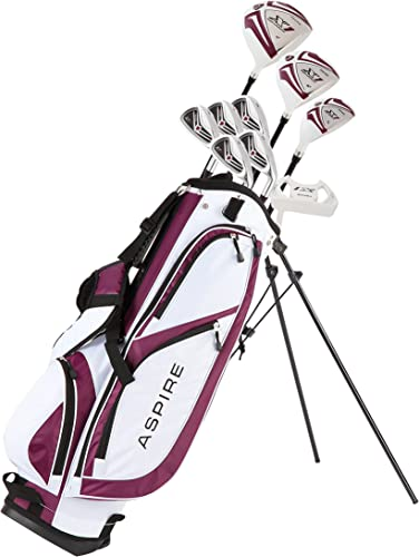 Aspire X1 Ladies Women s Complete Golf Club Set Includes Driver, Fairway, Hybrid, 6-PW Irons, Putter, Stand Bag, 3 H C s Purple, Regular or Petite Size, Women s Golf Club Set