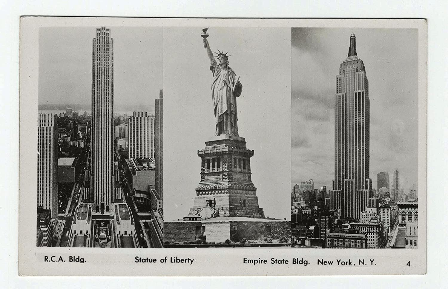New York City RCA Building Empire State Statue of Liberty Vintage Postcard unused