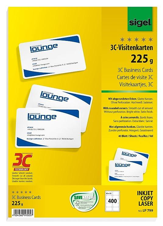 Sigel Lp799 Visitenkarten 3c 400 Stück 40 Blatt Hochweiß Glatter Schnitt Rundum Mit Abgerundeten Ecken 225 G 85x55 Mm Weitere Stückzahlen