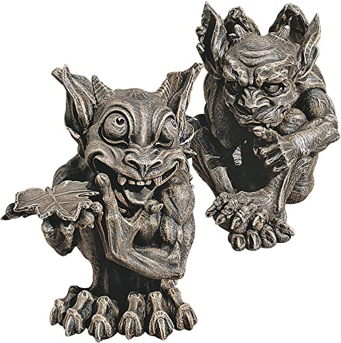 Design Toscano CL93689 Babble and Whisper Gargoyle Statue Set of 2 ,Greystone
