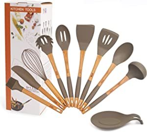 Premium 9+1 Piece XL Silicone Kitchen Utensil Set And FREE Spoon Rest Natural Bamboo Wood Handles With Non-Slip Silicone Comfortable Design. Heat Resistant Up To 464F. 240C FDA Approved And BPA Free.