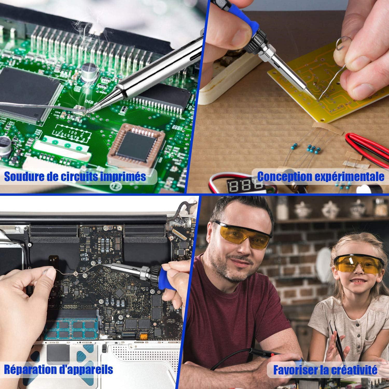 Kit de soldador Vastar herramienta de soldadura con pantalla LED con control digital soldador a temperatura ajustable 80-480/°C//176/°F-896/°F calibraci/ón de la temperatura de soldadura