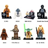 Star Wars Inspired Droids and Non-Humans | Jawa, Chewbacca, Yoda, R2-D2, Jar Jar Binks (8 pc)