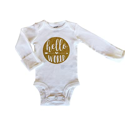 """Hello World"" long sleeve onesie/bodysuit in gold, Newborn"