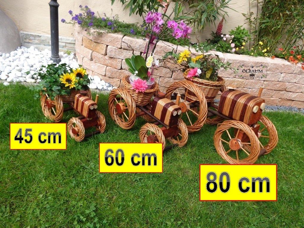 2 x Traktor Bulldog 80 + 60 cm XXL, aus Korbgeflecht, Korbruten wetterfest**, pfiffige GARTENDEKO, ideal als Pflanzkasten, Blumenkasten, Pflanzhilfe, Pflanzcontainer, Pflanztröge, Pflanzschale, Rattan, Weidenkorb, Pflanzkorb, Blumentöpfe, Holzschubkarre, Pflanztrog, Pflanzgefäß, Pflanzschale, Blumentopf, Pflanzkasten, Übertopf, Übertöpfe, , Holzhaus Pflanzgefäß, Pflanztöpfe Pflanzkübel