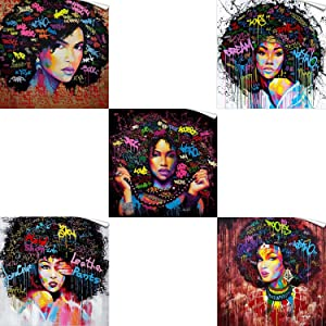 FONWAPAI African American Girl Canvas Printing Wall Art Paintings,Black Art Pop Art Wall Salon Decor,Sexy Art Picture for Living Room (12-Multiple-5pcs (Unframed), 12 x 12 inch (30 x 30 cm))
