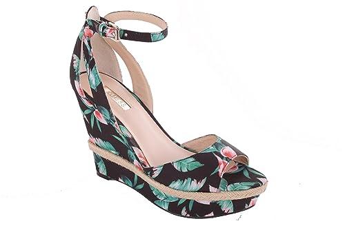 sale retailer fdf07 9611e Guess Sandali con Zeppa Piattaforma Donna Sandali Neri ...