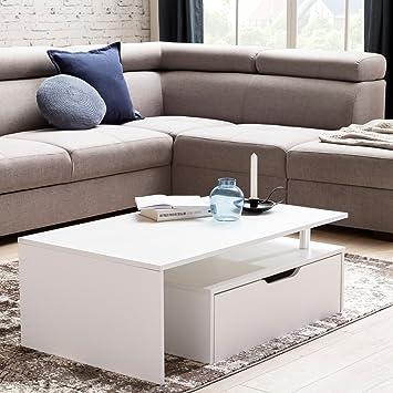 Wohnling Couchtisch Mit Schublade Mdf Holz Weiß 100 X 36 X 60 Cm