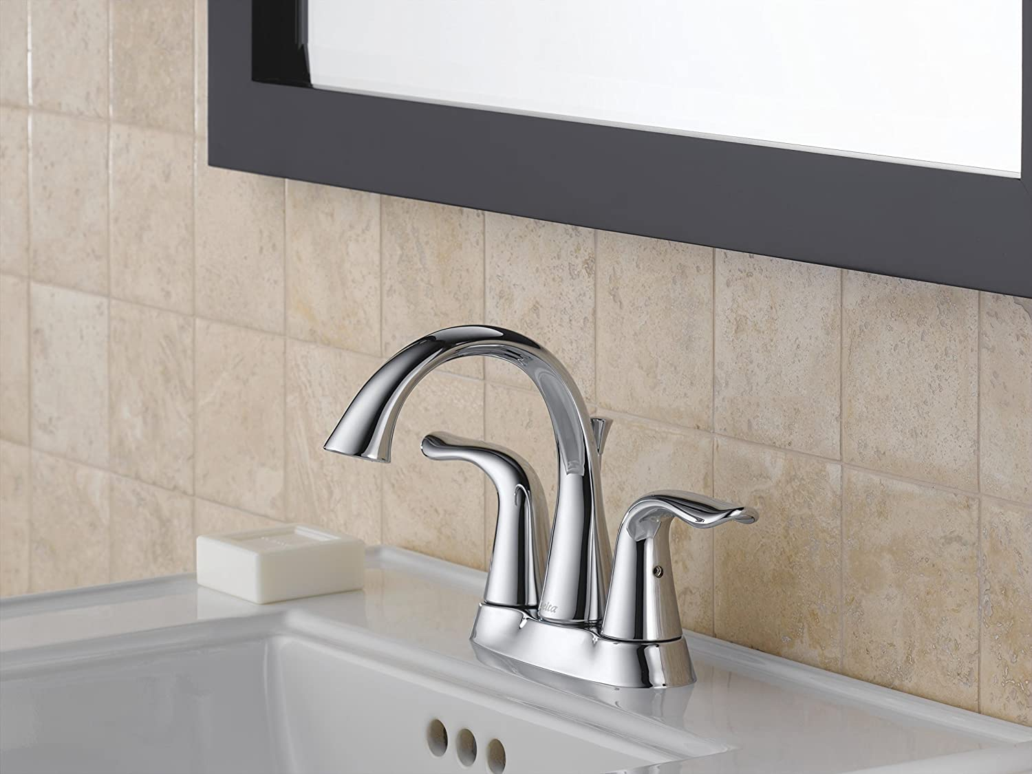 Delta 2538 MPU DST Lahara Two Handle Centerset Bathroom Faucet, Chrome    Touch On Bathroom Sink Faucets   Amazon.com