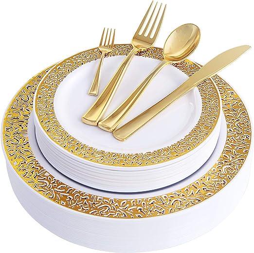 Disposable Wedding Plates Crystal Plastic Par... Gold Plastic Plates 60 Pieces
