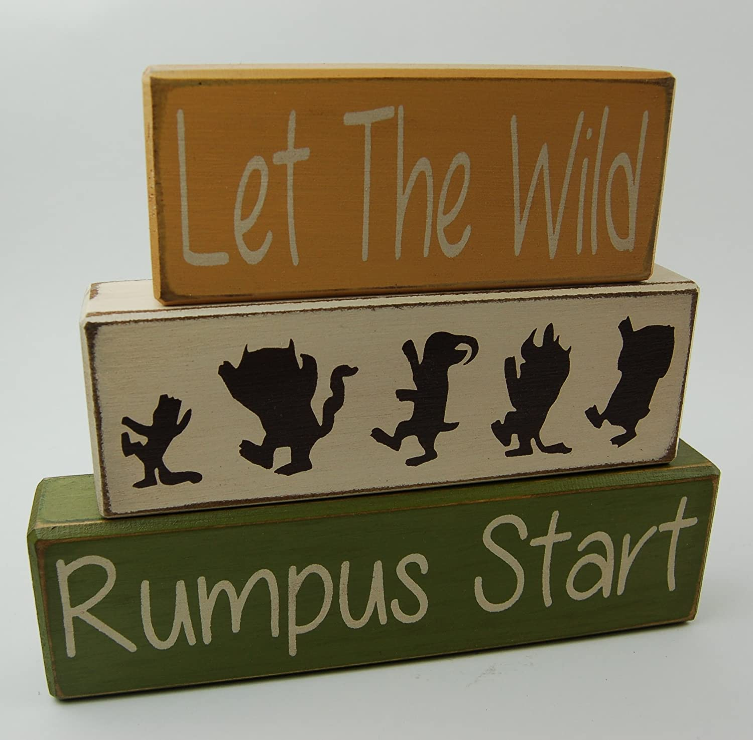 Let The Wild Rumpus Start Primitive Country Wood Stacking Sign Blocks Nursery Children Room Decor Where The Wild Things Are Home Decor