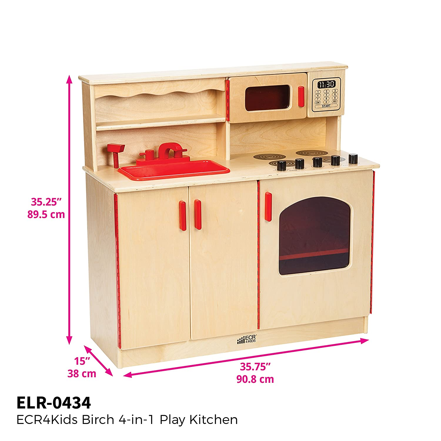 ECR4Kids Birch Pretend Play 4-in-1 Kitchen Playset for Daycare, Natural