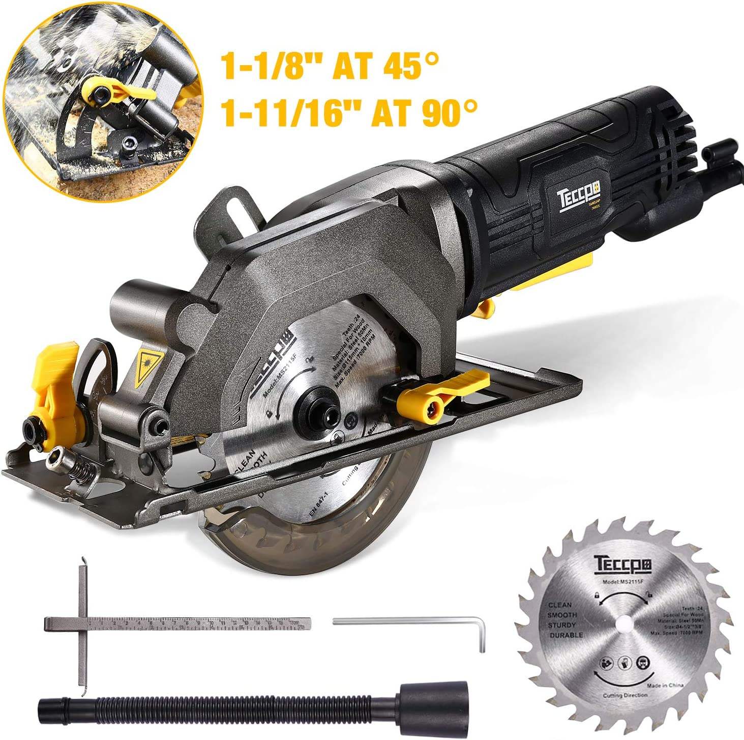 TECCPO Circular Saw, 4 Amp 4-1 2 3500 RPM Compact Circular Saw with 24T Carbide Tipped Blade for Wood Cutting, 7 Scale Ruler, Max Cutting Depth 1-11 16 90 , 1-1 8 45 -TAMS25P