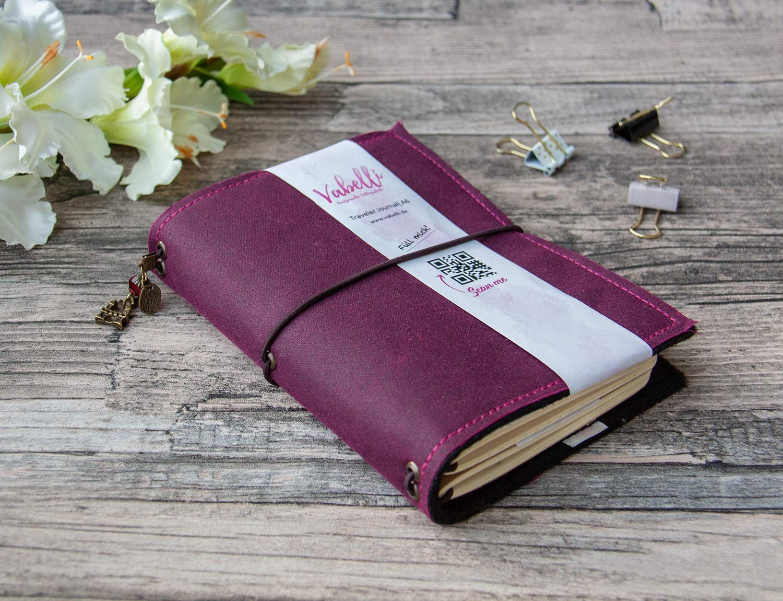 OilSkin Travelers Journal A5-A7blackberry veganes Leder